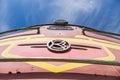 Old soviet locomotive train closeup under blue sky Royalty Free Stock Photo