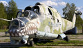 Old Soviet military helicopter MI-24 Stock Photo
