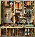 Old soviet tape reel recorder bowels. Retro electronic parts and mechanisms Royalty Free Stock Photo