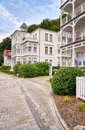 Old spa houses on the Baltic Sea. Summer town Binz on the Baltic coast. Rügen is a popular tourist destination. Germany Royalty Free Stock Photo