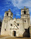 Old spanish mission the front of the historic concepcion near san antonio tx a built in the s Royalty Free Stock Image