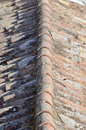 Old spanish roof detail of the tiles of an aged Royalty Free Stock Images