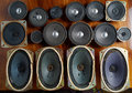 Old speakers collection Royalty Free Stock Photo