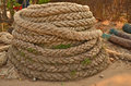 Old spiral big rope pile Royalty Free Stock Photo