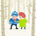 Old spouses on winter forest background. Vector illustration. Cartoon characters.