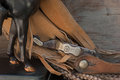 Old spur closeup on leather with western horse Royalty Free Stock Images