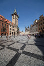 Old square and clock tower in prague the town staré mesto at day czech republic the is populated with tourists from all over the Royalty Free Stock Image