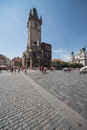 Old square and clock tower in prague the town staré mesto at day czech republic the is populated with tourists from all over the Royalty Free Stock Photo