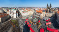 Old square in prague from town hall tower Royalty Free Stock Images