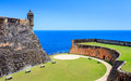 Old st juan puerto rico blue sky and ocean castle Stock Images