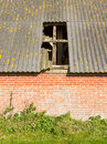Old stable roof collapsed Royalty Free Stock Images