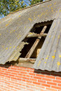 Old stable roof collapsed Stock Photography