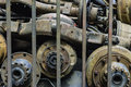 Old stack of axle in bar at junk yard thailand Royalty Free Stock Images