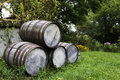 Old stacked beer barrels Royalty Free Stock Photos