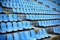 Old stadium tribune industrial architecture shot with empty blue Royalty Free Stock Photography