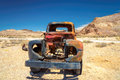 Old stage wagon in ghost town rhyolite nevada farm truck left the desert Royalty Free Stock Image