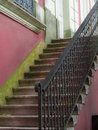 Old stairway on vintage pink wall background with metal railing belem amazonia brazil Stock Photos