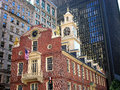 Old state house surrounded by modern buildings the historic was built in it was used as the massachusetts legislature up until Royalty Free Stock Photography