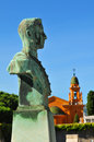 Old statue against religious architecture in nice france Stock Image