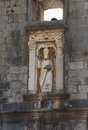 Old statue over pile gate in dubrovnik an the famous the walled city of croatia Stock Photo