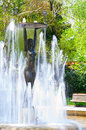 Old statue in the park of the town of hissar in bulgaria photo fountain with a a woman surrounded by water jets Stock Images