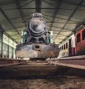Old Steam Locomotive Front View Royalty Free Stock Photo