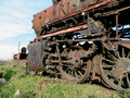 Old steam locomotive large which for years waiting for repair and museum Stock Image