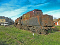 Old steam locomotive large which for years waiting for repair and museum Royalty Free Stock Photos