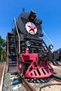 Old steam locomotive with red star Royalty Free Stock Image