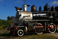 Old steam locomotive restored stored in a cuban museum Stock Photos