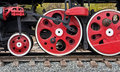 Old steam locomotive wheels Stock Photo