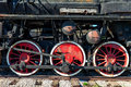 Old steam locomotive wheels close up Stock Image