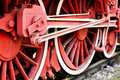 Old steam train driving wheel mechanism Royalty Free Stock Photo
