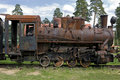 Old steam train at a railway museum Royalty Free Stock Photo