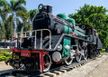 Old steam train on the track Royalty Free Stock Images