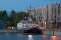 Old steamer Admiral in the evening twilight in the port of Tallinn. Estonia Royalty Free Stock Photo