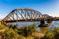 Old steel beam railroad bridge an iconic metal truss in texas Royalty Free Stock Image