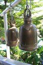 Old steel bells at the Golden Mount at Wat Saket in Bangkok, Thailand Royalty Free Stock Photo