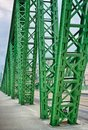 Old steel bridge welded colored with green in budapest Royalty Free Stock Photos