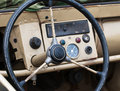 Old steering wheel on the military jeep Royalty Free Stock Image