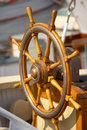 Old steering  wheel - sailing boat Royalty Free Stock Photo