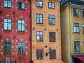 Old stockholm sweden colorful building exteriors from gamla stan Stock Photos