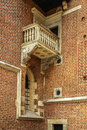 Old stone balcony in town in cracow Stock Photos