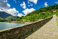 Old stone bridge in borgo a mozzano italy Royalty Free Stock Images