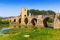 Old stone bridge over Ebro. Frias Royalty Free Stock Photo
