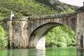 Old stone bridge over ebro river outdoor shot of an ancient in burgos spain Stock Photos