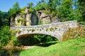 Old Stone Bridge Over A Small ...