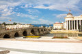 Old Stone Bridge Over Vardar River Royalty Free Stock Photo