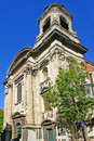 The old stone church of saints john and stephen located in upper part of historic city center on rue des minimes in marolles Royalty Free Stock Photos