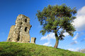 Old Stone Medieval Castle Tower Ruins on Hill Royalty Free Stock Photography